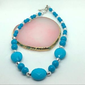 Bold Blue Silver Statement adjustable Necklace